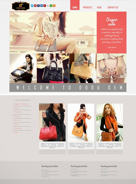 Custom webdesign San Francisco – Dudu Wear webdesign template