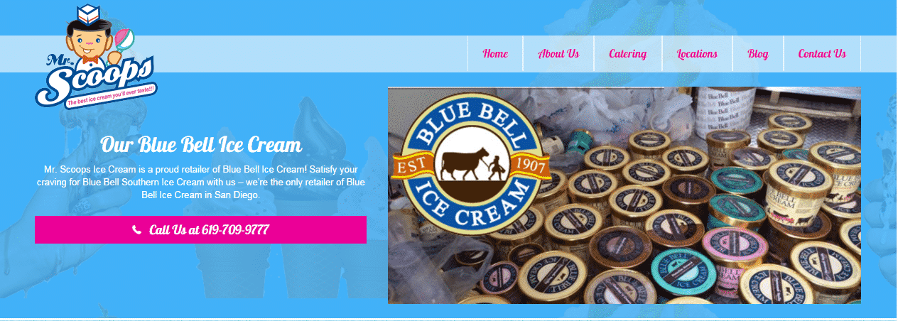 Custom Website Design For Mr Scoops Ice Cream San Diego