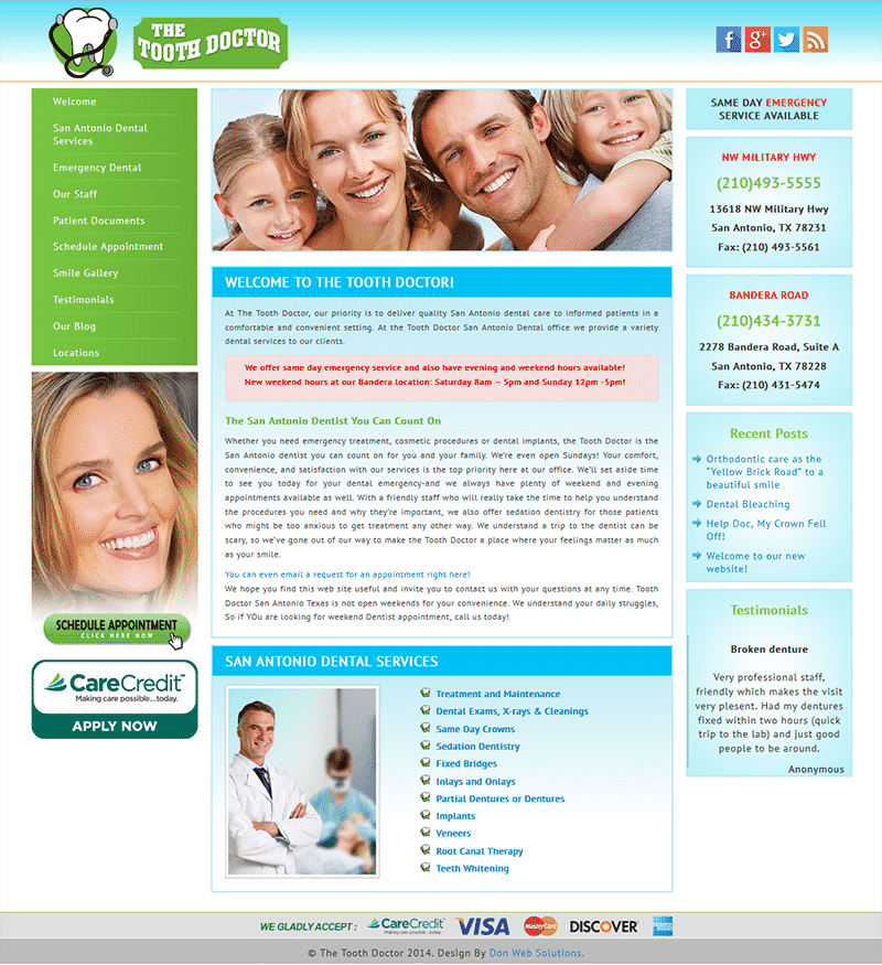 Website Design Template for Tooth Doctor Texas