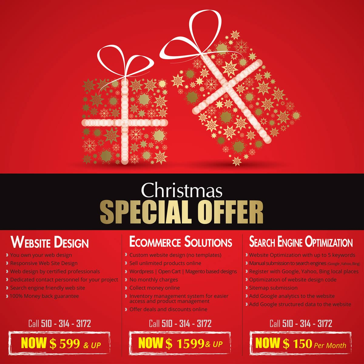 Don Web Solutions Holiday Promotions on website Design and SEO services
